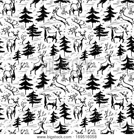 Hand drawn winter seamless pattern with deer and pine trees in doodle incomplete style. Artistic black and white illustration. Design element for christmas wrapping paper cards and posters