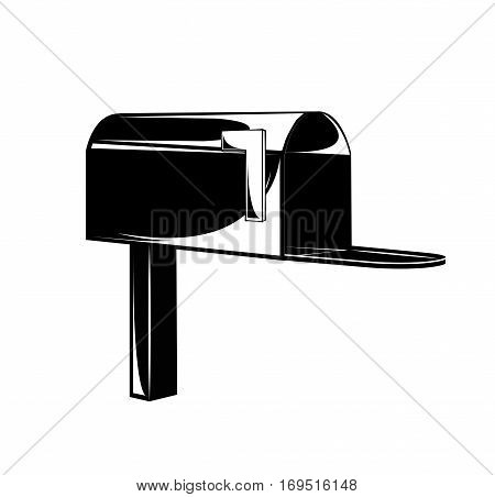 vector black hand draw illustration of mailbox. isolated on white background