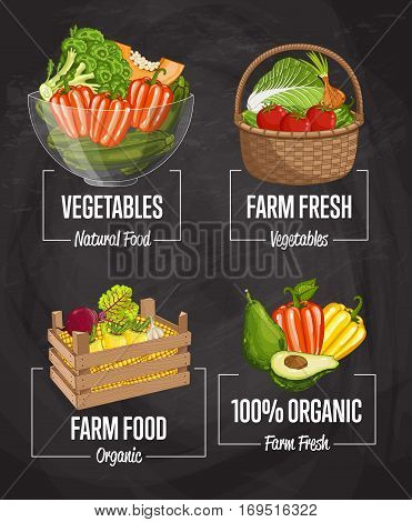 Organic farm harvest set vector illustration. Fresh natural vegetable, organic farming, vegan food store, retail farm product label. Healthy farm advertising with pepper, broccoli, corn, tomato, onion
