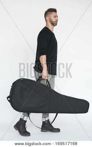 Man With Guitar Case Concept