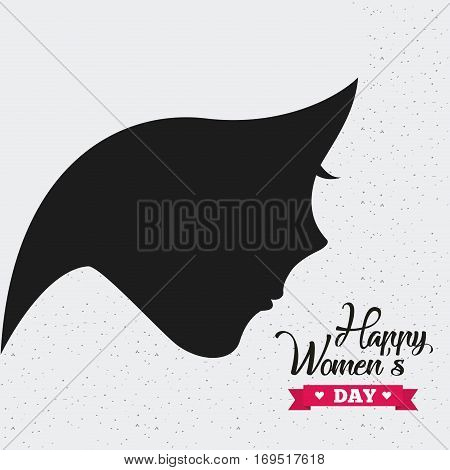 happy womens day card with woman profile icon. colorful design. vector illustration