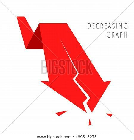 Reduction graph concept. Red arrow depict recession business. Flat illustration of broken downward arrow as an element for infographic article background for web publish social networks.