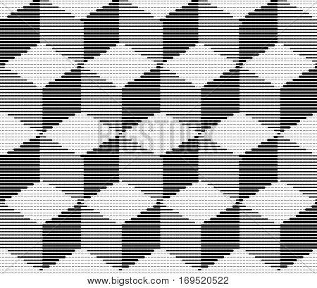 Vector illustration with four halftone patterns. Isometric Cubes Engraving Seamless Texture. Black Strokes Background. Vector Illustration.