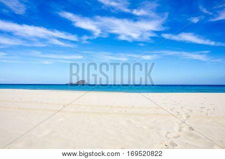 The coast of Mediterranean sea La Manga Spain