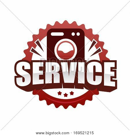 Logo Service lettering Brand symbol. Vector illustration emblem text service and washing machine. For business repair washing machine or service and sales.