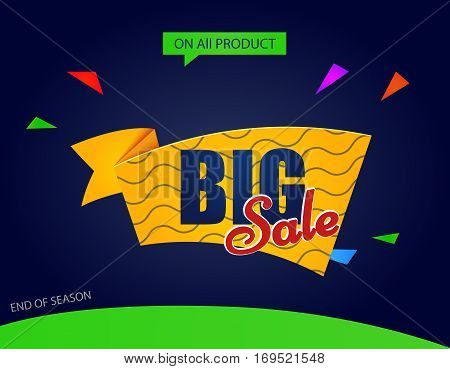 Big sale tag. Sale banner template discounts on a dark background. text illustration Big sale on all product.