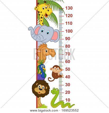 zoo animal height measure - vector illustration, eps