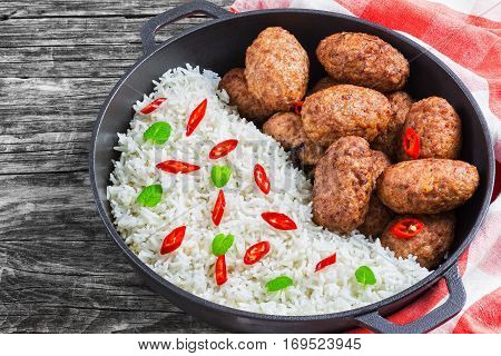 Rice And Juicy Delicious Meat Cutlets, View From Above