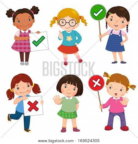 Set of girls holding and doing right and wrong signs
