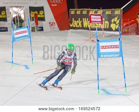 STOCKHOLM SWEDEN - JAN 31 2017: Chiara Costazza (ITA) starting in the parallel slalom downhill skiing at the Alpine Audi FIS Ski World Cup event. January 31 2017 Stockholm Sweden