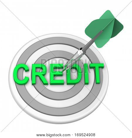 Green dart on the target with credit text on it. 3D illustration.