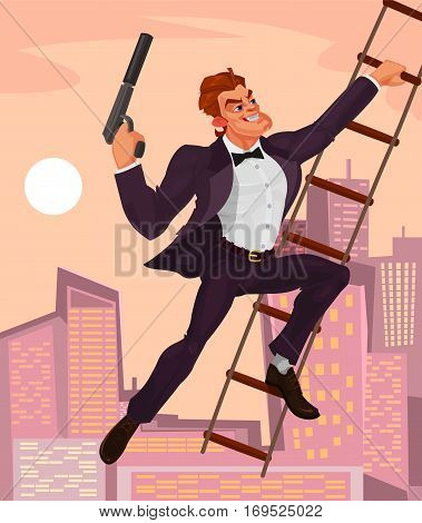 illustration of a secret agent with a gun in his hand climbs the ladder