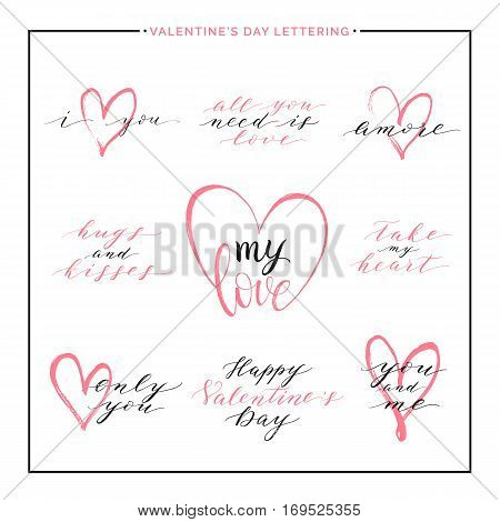 Happy Valentines Day, set of love text with pink heart - all you need is love, i love you, amore, hugs and kisses, vector lettering for greeting card, poster, invitation, wedding, save the date