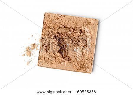crushed face powder isolated on white