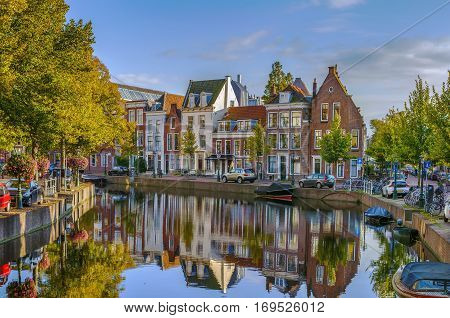Cityscape of Leiden with channel in city center Netherlands