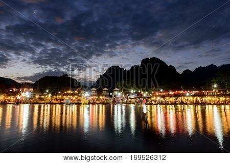 vang vieng Laos with beautifu light andl cloud during sunset