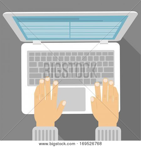 Flat design laptop notebook with office worker writer hands vector icon template