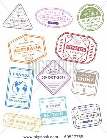 International travel visa stamps vector isolated on white background. Arrivals sign rubber stamps. Italy, France, Usa, China, Germany and other countries sign. Visa stamps collection. Realistic visa stamps with different place.