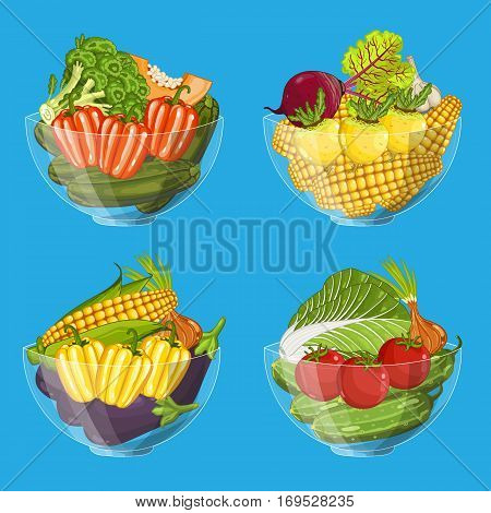 Fresh organic vegetable in glass bowl set isolated vector illustration. Eco farming, vegetarian nutrition, organic healthy diet, vegan retail. Cabbage, corn, carrot, eggplant, tomato, zucchini in bowl