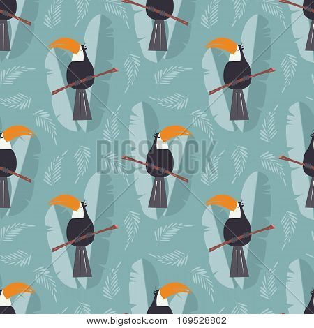 Seamless pattern with cute jungle parrot toucan on blue background vector illustration