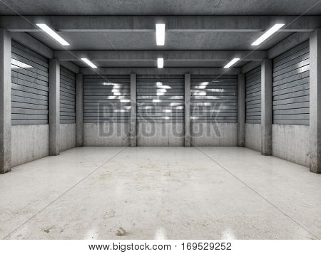 Open space empty garage or warehouse. 3D illustration.