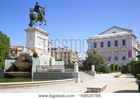 Plaza de Oriente in Madrid with monument of Felipe IV (was opend in 1843), Spain.