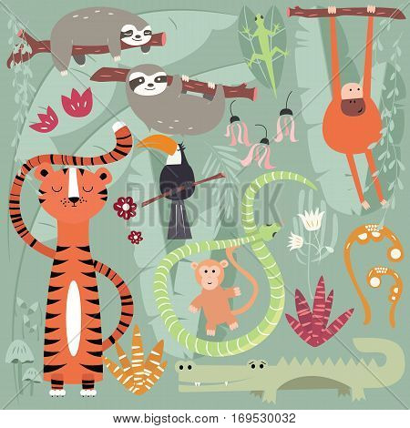 Collection of cute rain forest animals tiger snake sloth monkey vector illustration