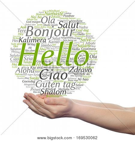 Concept or conceptual abstract hello or greeting international word cloud on hands in different languages or multilingual metaphor to world, foreign, worldwide, travel, translate, vacation or tourism