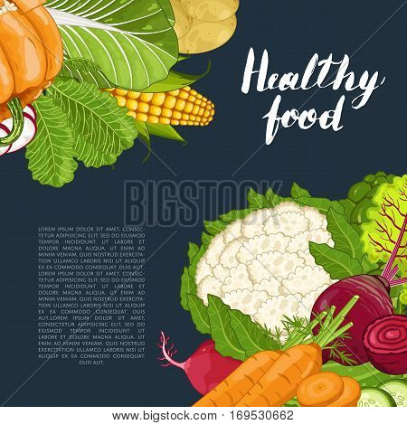 Healthy food banner vector illustration. Fresh natural vegetable, vegetarian nutrition, organic farming, vegan diet, eco product. Organic food concept with corn, broccoli, radish, carrot, potatoes