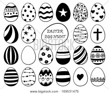 Black and white hand drawn sketch funny set of Easter egg icons.