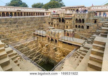 Abhaneri India 21st January 2017 - The Chand Baori stepwell in Abhaneri Rajasthan India.