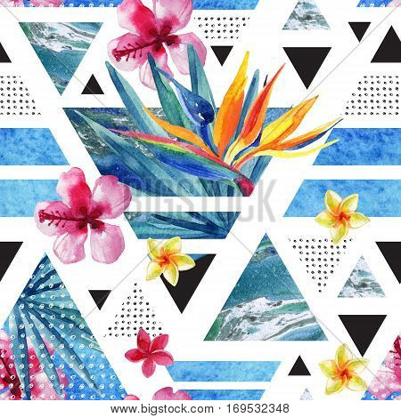 Abstract summer geometric seamless pattern. Triangles with watercolor tropical flowers palm leaves marble grunge textures doodles. Water color exotic background. Hand painted minimal illustration