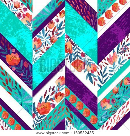 Chevron pattern with watercolor flowers. Background with hand painted floral elements and grunge texture. Vibrant colored pattern for summer design