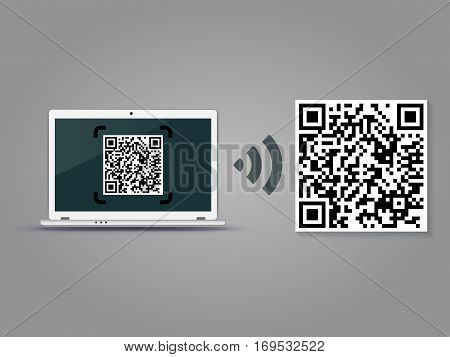 QR Codes decoding with a laptop - quick response code business infographic template