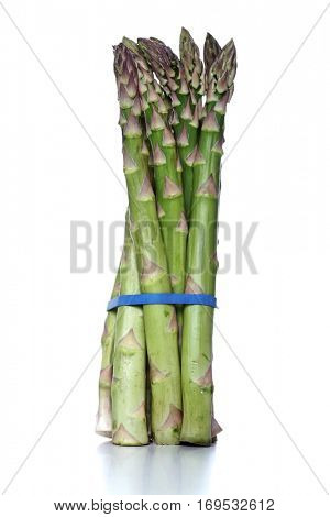 Close up of asparagus on white background
