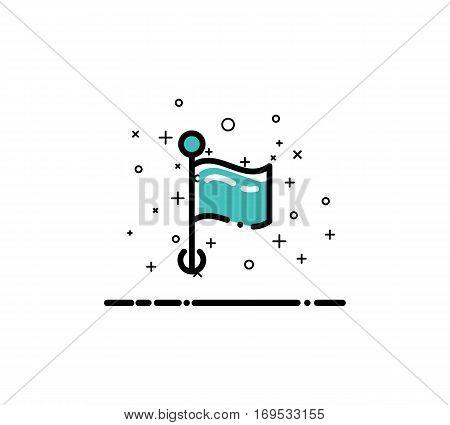 Flag cloud icon. Single high quality outline symbol for web design or mobile app. Thin line sign for design logo. Black outline pictogram on white background