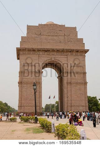 NEW DELHI, INDIA. 30 may 2009:  The Triumphal Arch of India Gate in New Delhi.  Gate, Rashtrapati Bhavan, Rajpath, New Delhi, India