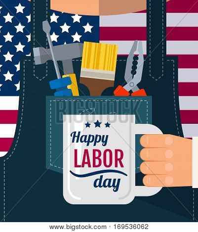 Happy Labor Day Greetings Cards Poster, Banner, Flyer With A Worker In Denim Overalls Holding A Cup