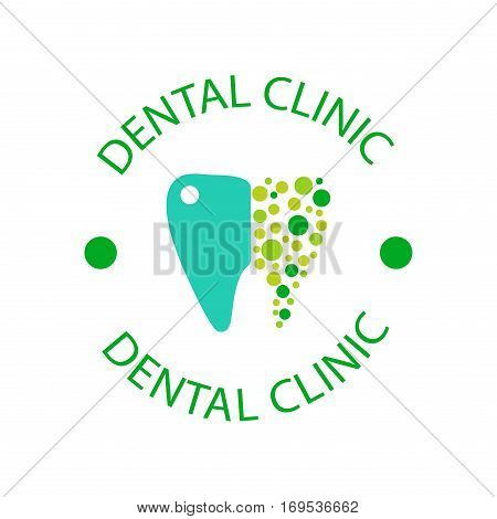 Vector logo dental protection template illustration. Abstract stomatology mouth blue graphic oral element. Whitening implant concept toothache silhouette.