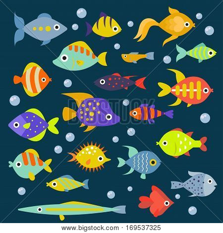 Aquarium flat style fishes vector icons. Set of vector fish icons. Sea and aquarium fish isolated on white background.