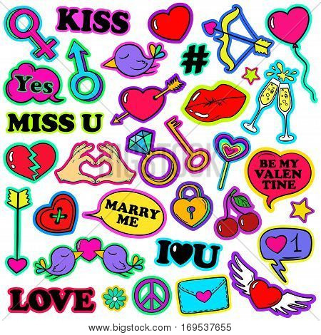 Colorful funny set of love stickers icons emoji pins or patches in cartoon 80s-90s pop comic style. Happy Valentine's day or wedding collection.