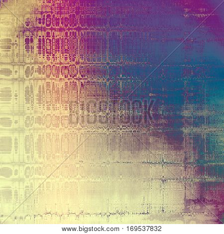 Tinted vintage texture, aged decorative grunge background with traditional antique elements and different color patterns: yellow (beige); blue; purple (violet); gray; cyan; pink