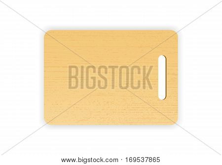 Wooden chopping or cutting board on white background. Vector illustration