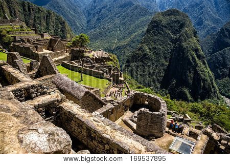 View of the Lost Incan City of Machu Picchu with the Temple of the Sun. Machu Picchu is a Peruvian Historical Sanctuary.