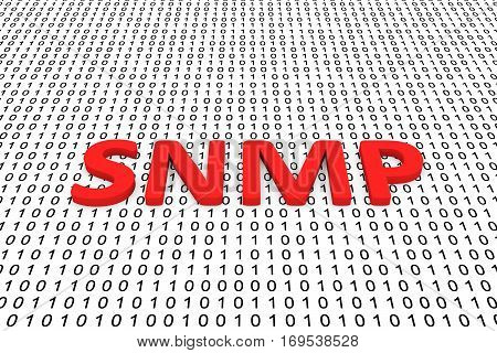 snmp in the form of binary code, 3D illustration
