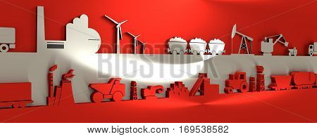 Energy and Power icons set on Austria flag backdrop. Header or footer banner. Sustainable energy generation and heavy industry. 3D rendering