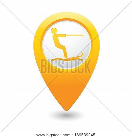 Water skiing sign symbol on map pointer. Vector illustration