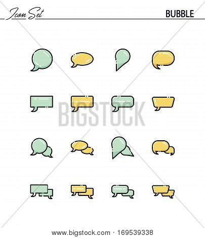 Speech bubble flat icon set. Collection of high quality outline symbols for web design, mobile app. Dialog vector thin line icons or logo.