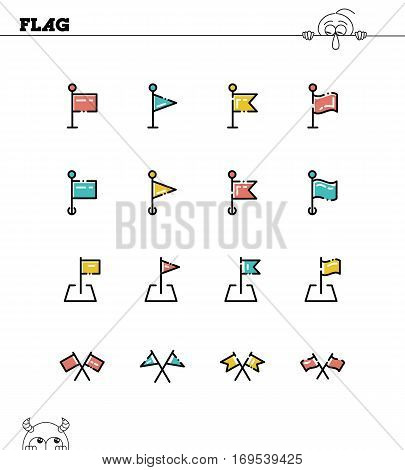 Flag flat icon set. Collection of high quality outline symbols for web design, mobile app. Flag vector thin line icons or logo.