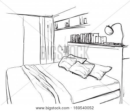 Bedroom interior sketch. Hand drawn furniture and bedclothes